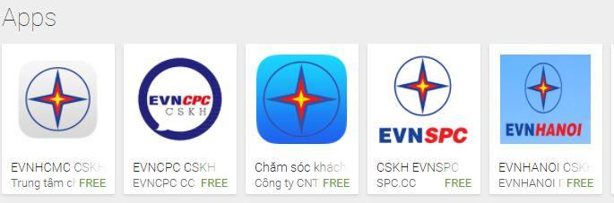 Các ứng dụng EVN trên Android Store