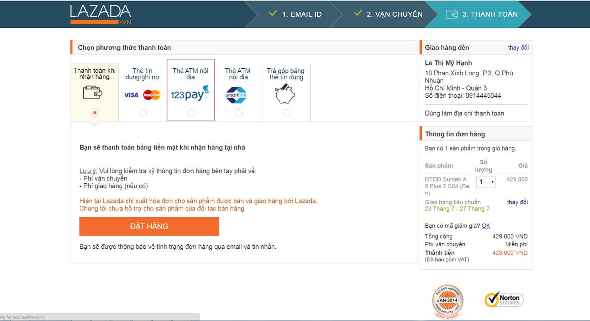 mua hàng online bằng thẻ Timo nội địa