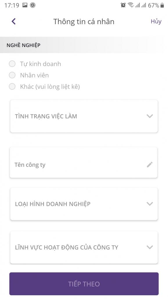 đăng ký thẻ tín dụng Timo Visa