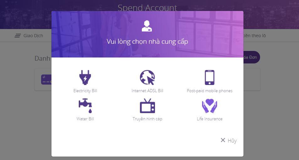 Thanh toán tiền điện với Internet Banking Timo