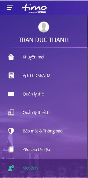 Thanh Menu ứng dụng Timo