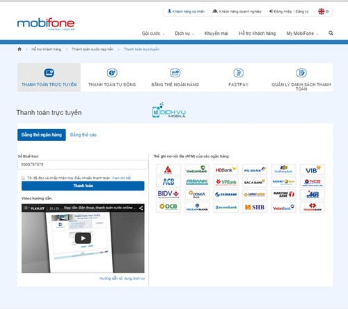 Nạp tiền điện thoại Mobi trên trang Web Mobifone.vn