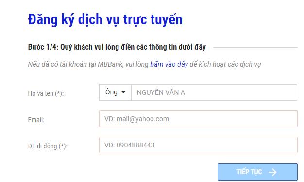 đăng ký sms banking online