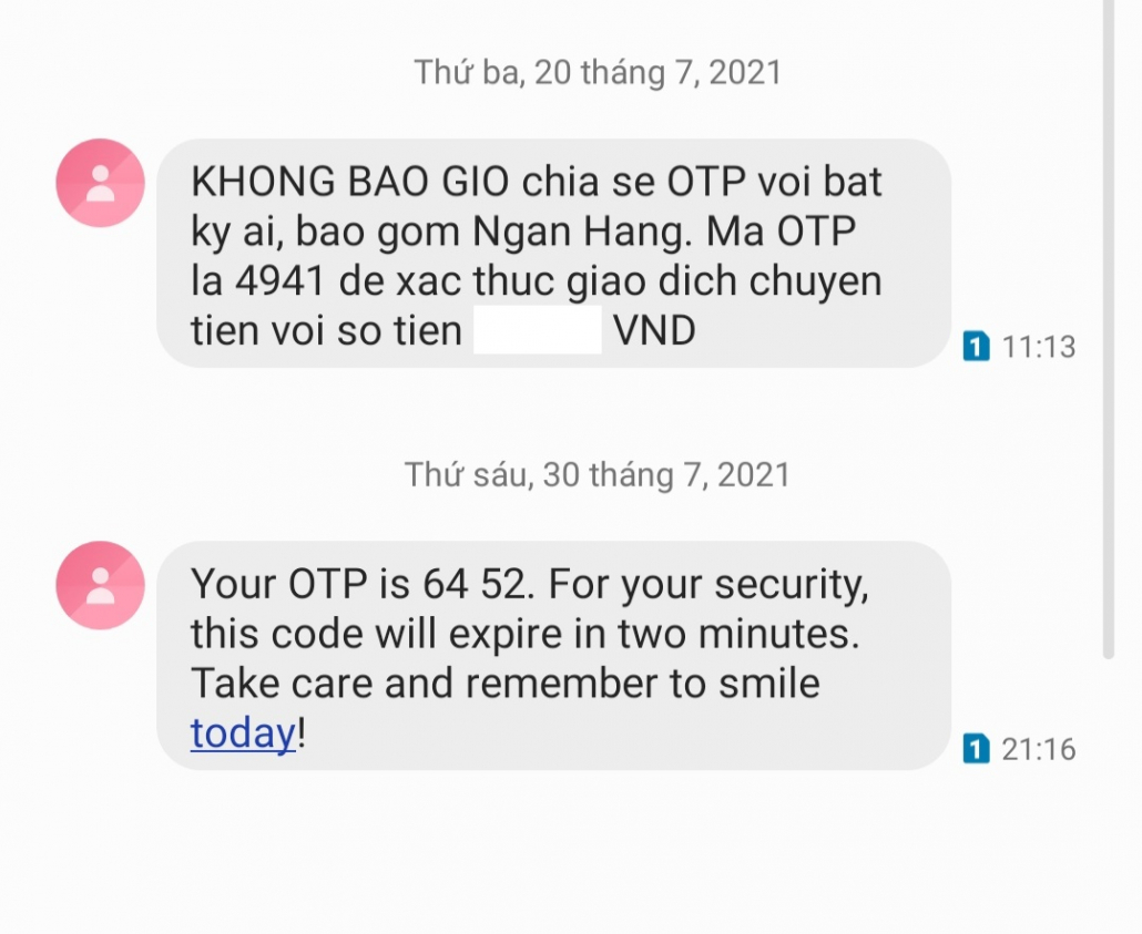 Mã OTP cũng có thể bị lộ nếu bất cẩn