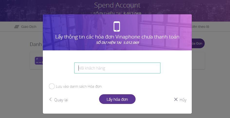 Nhập thông tin mã khách hàng điện thoại trả sau của bạn