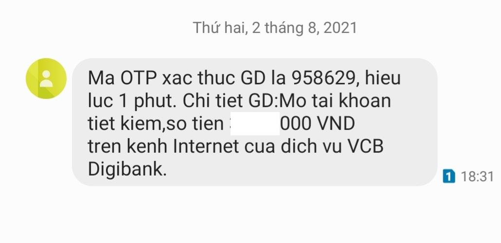 Cách lấy mã OTP Vietcombank