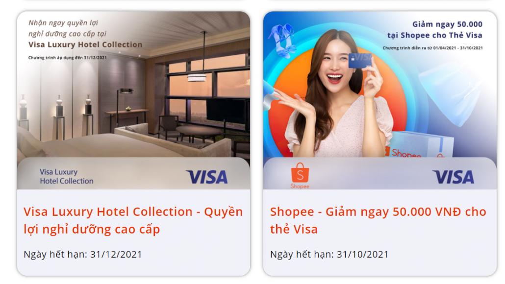 Nhiều ưu đãi khi sử dụng thẻ VISA/MasterCard